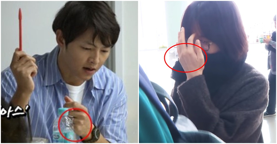 지난 5월 송중기가 결혼반지를 끼고 있는 모습(사진 왼쪽). 지난 2월 송혜교가 결혼반지를 끼지 않고 출국하는 모습. [사진 tvN, SPOTV STARK 유튜브 영상 캡처]