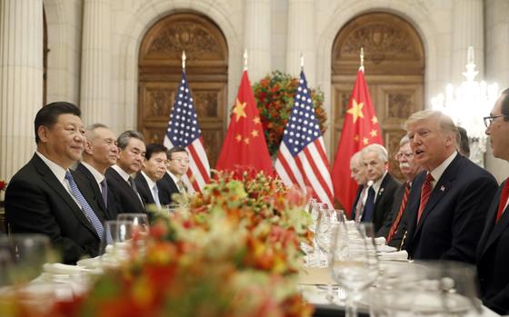지난해 12월1일 아르헨티나 G20 정상회의에서 회담 중인 트럼프 대통령과 시진핑 주석.[AP=연합뉴스]