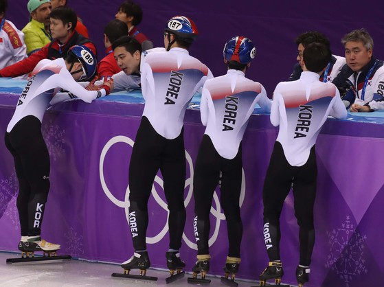 지난해 2월 평창올림픽 남자 계주 5000m에 출전한 선수들. [중앙포토]