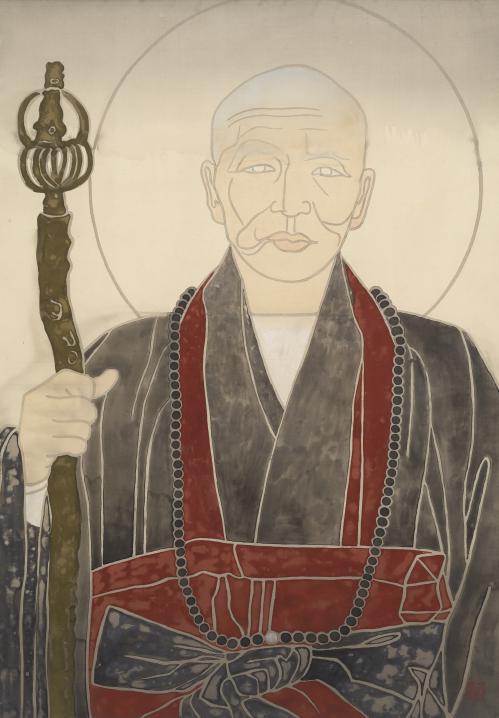 현대 한국불교의 거목인 청담 스님은 박생광의 어릴 적 친구다. 박생광은 존경하는 친구를 작품 소재로 삼은 '청담 대종사 연작'을 발표했다. 박생광의 작품 '청담대사'(1980년대). [사진 대구미술관]