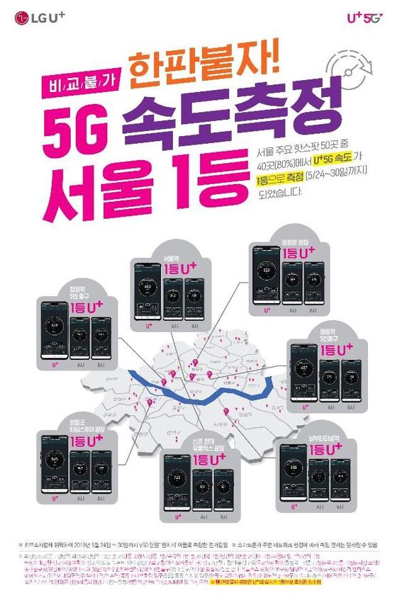 LG유플러스가 서울지역에서 5G 속도가 가장 빠르다는 사실을 알리기 위해 주요 매장에 붙인 포스터. [사진 LG유플러스]