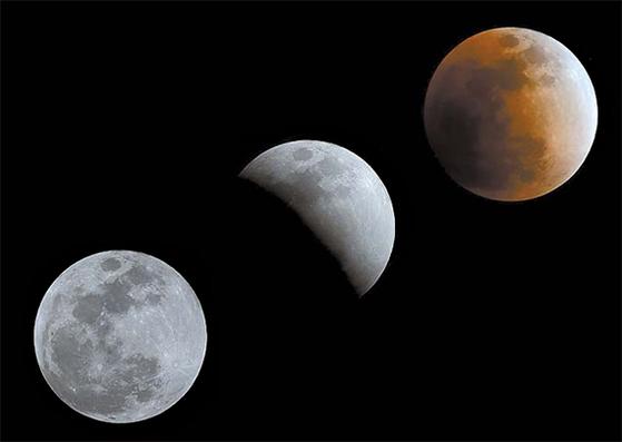 2018년 1월 31일 슈퍼문·블루문·개기월식이 함께 일어난 '트리플 우주쇼'의 모습. 달과 별이 보여주는 특별한 모습은 우리가 숨 가쁜 일상을 잠시 내려놓고 하늘을 바라볼 여유를 준다. [중앙포토]