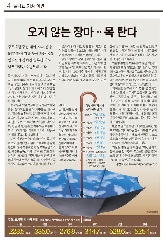 '마른 장마'를 보도한 2014년 중앙일보 기사.