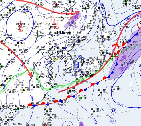 지난 6월 24일 오후 9시 현재 장마전선의 위치 [자료 기상청]