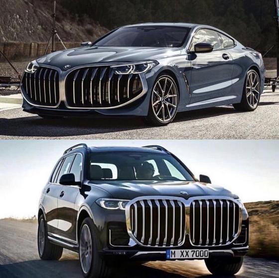 최근 BMW 신차들의 키드니 그릴(콩팥 모양의 라디에이터 그릴)이 점점 커지면서 인터넷에선 장난스러운 합성 사진도 발견할 수 있다. 한 자동차 커뮤니티에 올라온 2030년 BMW 자동차 예상도. [보배드림 게시물 캡처]