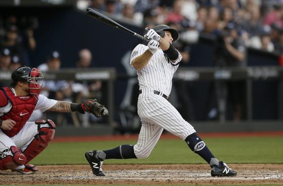 3회 홈런을 치는 뉴욕 양키스 브렛 가드너. [AP=연합뉴스]