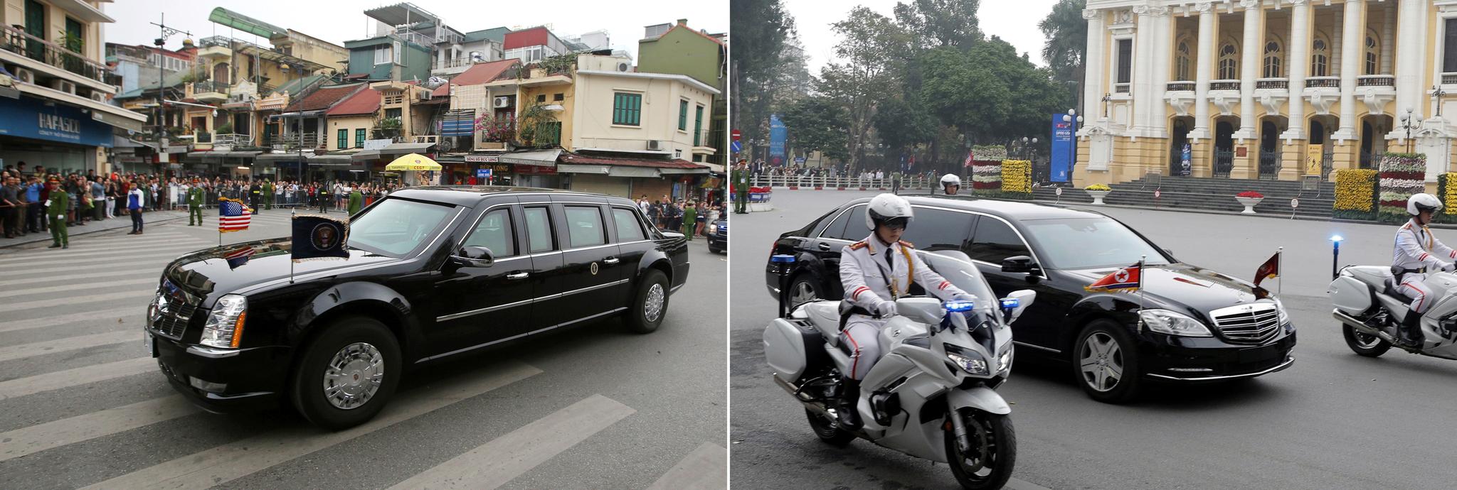 트럼프 대통령의 방탄 경호 차량인 '비스트'(왼쪽)과 김정은 위원장의 방탄 벤츠 차량(오른쪽)도 화제거리였다. [AP,EPA=연합뉴스]