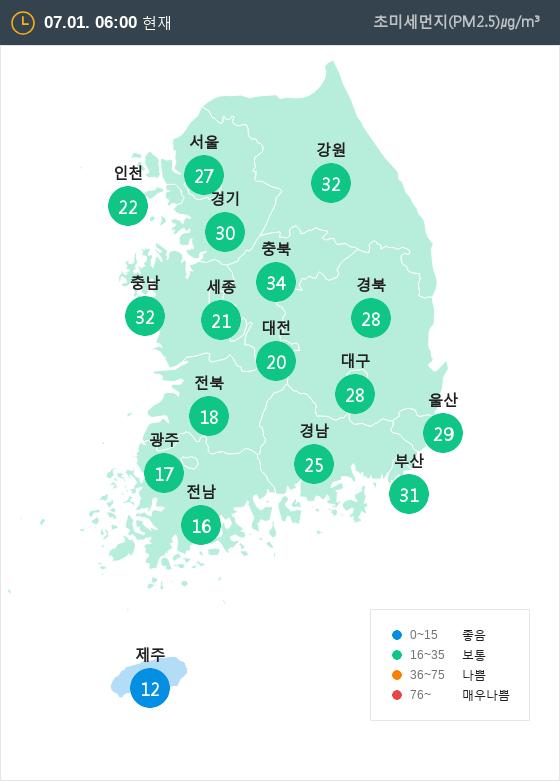 [7월 1일 PM2.5]  오전 6시 전국 초미세먼지 현황