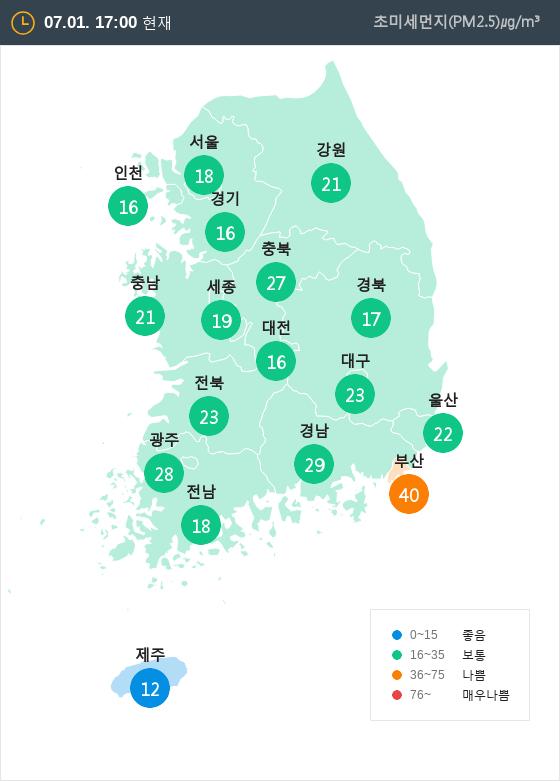 [7월 1일 PM2.5]  오후 5시 전국 초미세먼지 현황