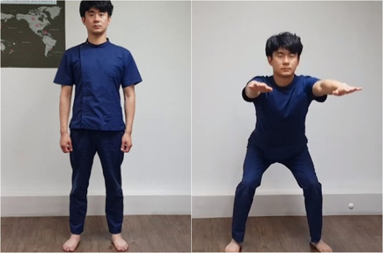 '사이드 스쿼트'는 남성호르몬 분비를 돕는 운동이다. 몸에서 가장 큰 근육인 엉덩이, 허벅지 근육을 강화하는 운동은 남성호르몬 분비를 촉진시킨다. [사진 유재욱]