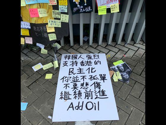 홍콩 입법회 주변에 한국인이 쓴 것으로 보이는 시위 지지 대자보도 보였다. 대자보에는 '한국인은 홍콩의 민주화를 강력히 지지합니다. 당신은 외롭지 않습니다. 슬퍼하지 말고 계속 전진'이라고 쓰였다. 신경진 특파원