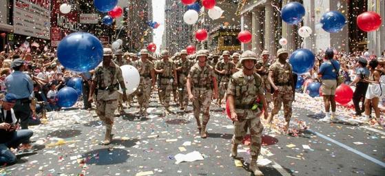 1991년 워싱턴 DC에서 열린 걸프전 승전 퍼레이드. [사진 golddustdays]