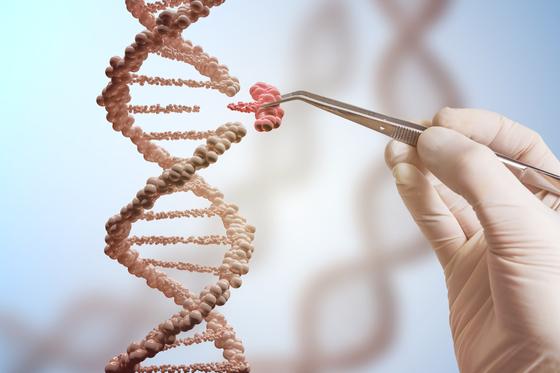 유전자가위를 이용한 유전자 교정의 개념을 그린 컴퓨터 그래픽