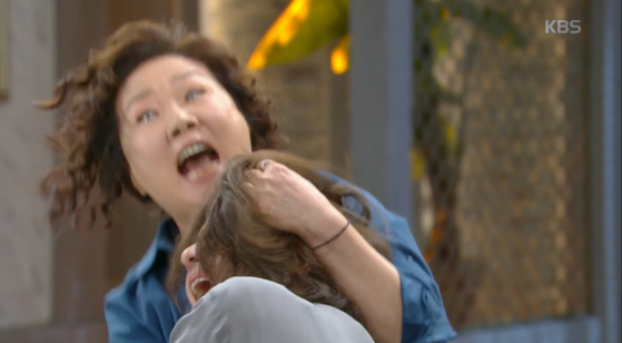 드라마 '세상에서 제일 예쁜 내 딸'의 한 장면. 강미리(김소연)를 친딸처럼 키워준 큰엄마 박선자(김해숙)가 강미리의 친모 전인숙(최명길)의 머리채를 쥐어뜯으며 싸우고 있다. [화면 캡처]