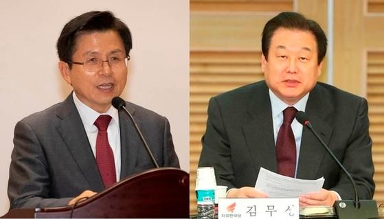 자유한국당 황교안 대표(왼쪽)와 김무성 의원. [연합뉴스]