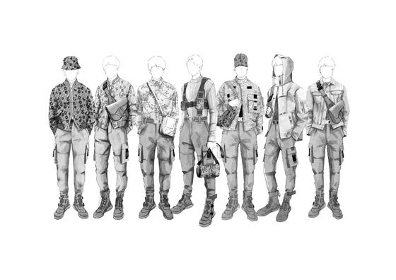 프랑스 럭셔리 브랜드 '디올'의 남성복 디자이너 킴 존스가 방탄소년단을 위해 제작한 공연의상 스케치.