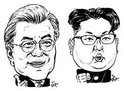 문재인(左), 김정은(右)