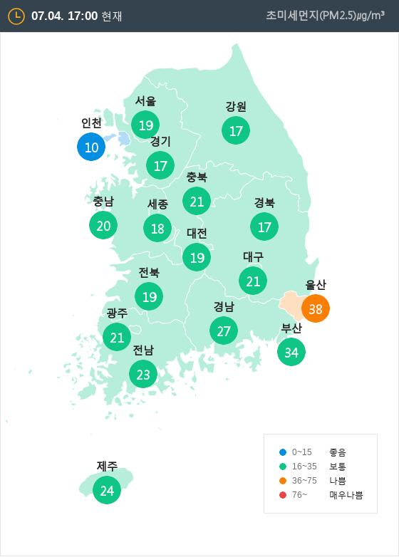 [7월 4일 PM2.5]  오후 5시 전국 초미세먼지 현황