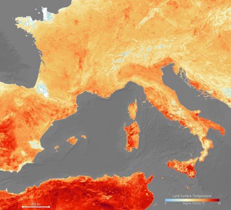 위성이 6월 26일 포착한 유럽 및 아프리카 일부 지역 지표면 온도. [출처 세계기상기구(WMO) 홈페이지]
