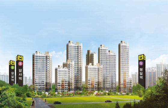 '강남4구'로 불리는 서울 강동구에 가격이 주변보다 파격적으로 싼 아파트가 공급 중이다. 더블역세권 단지인 암사 한강이다. 이미지는 암사 한강 투시도.