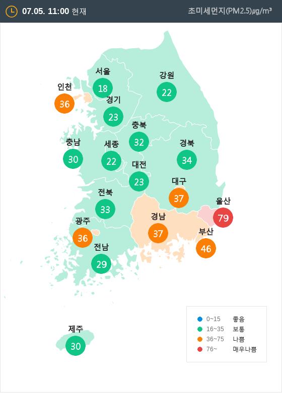 [7월 5일 PM2.5]  오전 11시 전국 초미세먼지 현황