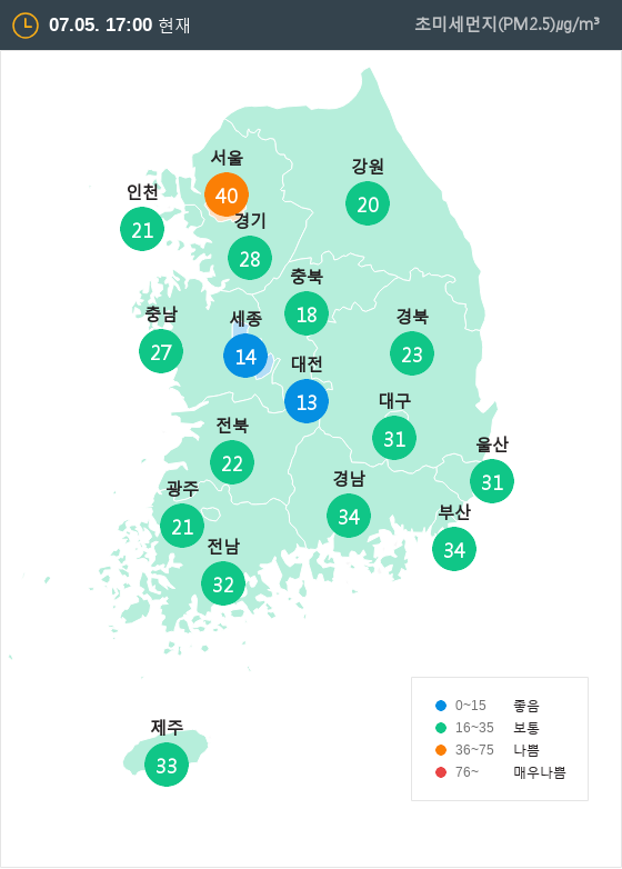 [7월 5일 PM2.5]  오후 5시 전국 초미세먼지 현황