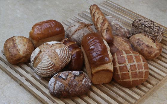 이성규 더베이킹랩 대표와 황진웅 토종농부가 우리 땅에서 재배한 여러 가지 밀로 구운 '아쥬드블레'의 빵들. 맛이 달고 기름진 것보다 밀가루의 맛과 향을 최대한 살린 식사용 빵이 대부분이다. 신인섭 기자