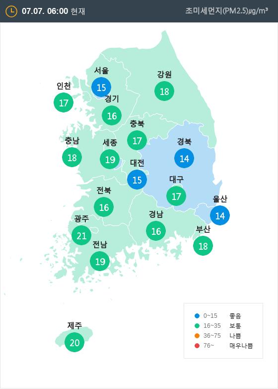 [7월 7일 PM2.5]  오전 6시 전국 초미세먼지 현황