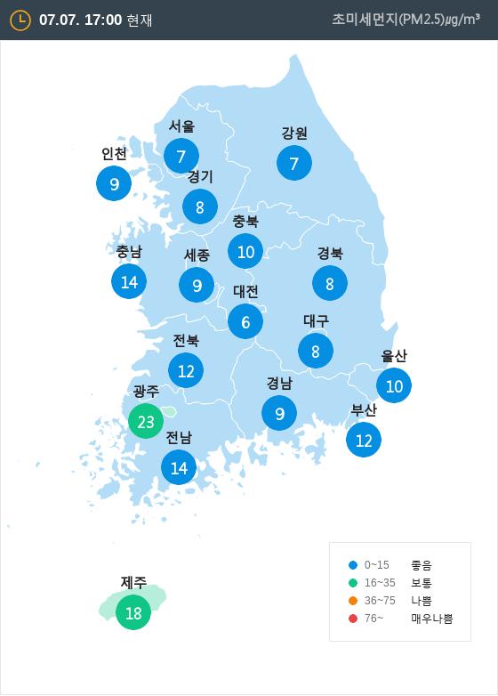 [7월 7일 PM2.5]  오후 5시 전국 초미세먼지 현황