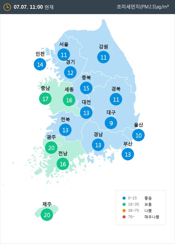 [7월 7일 PM2.5]  오전 11시 전국 초미세먼지 현황