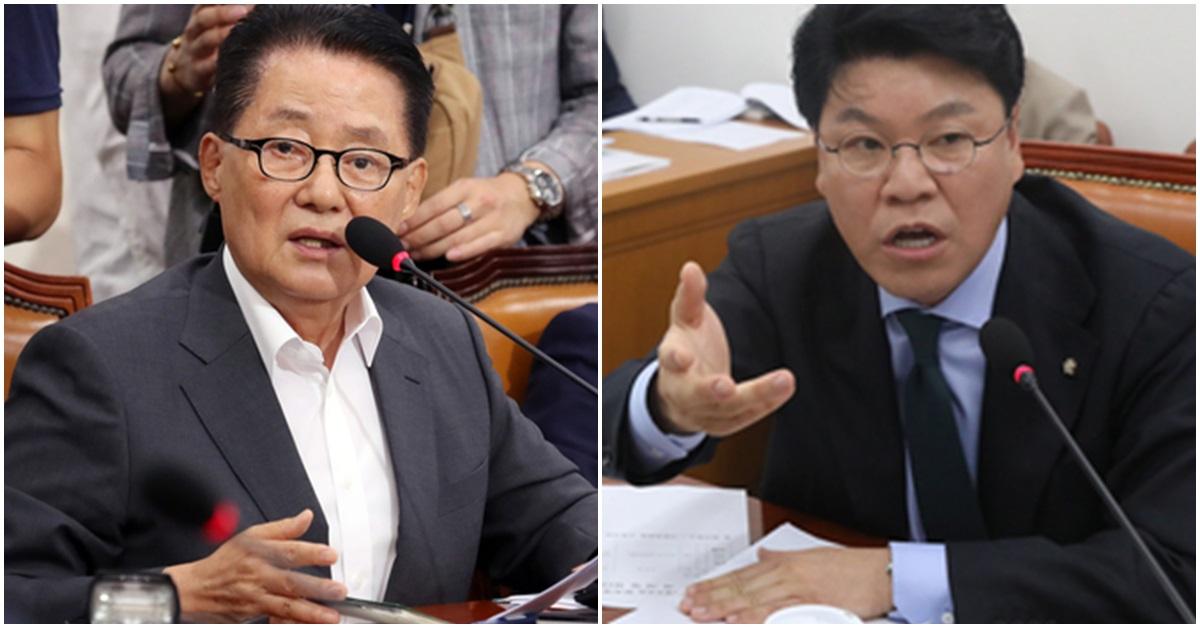 박지원 민주평화당 의원(왼쪽)과 장제원 자유한국당 의원. [뉴시스·뉴스1]