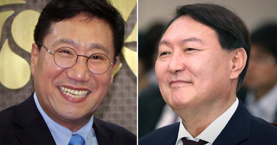 양정철 민주연구원장(왼쪽)과 윤석열 검찰총장 후보자. [뉴스1]