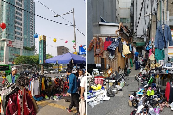 서울 종로의 동묘시장엔 헌 옷가지부터 골동품에 이르기까지 온갖 물건을 거래한다. [사진 홍미옥]