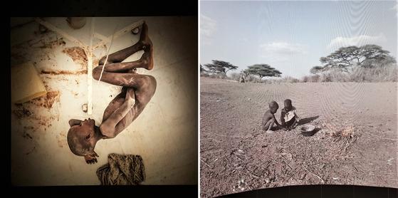 스톡홀름 사진 뮤지엄에서 만난 사진작가 웬만(Magnus Wennman)의 'What the children eat' 사진전. 뼈가 앙상하게 드러난 채 길에서 잠을 자는 아이와 들쥐를 구워 먹는 아이들의 모습이다. [사진 심채윤]