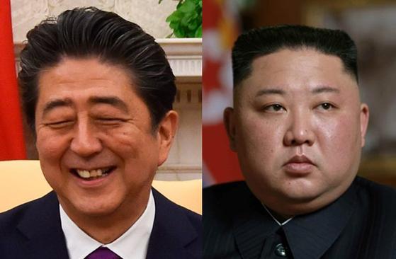아베 신조 일본 총리와 김정은 북한 국무위원장 [중앙포토]