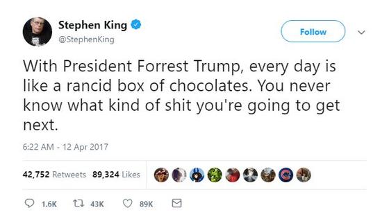 미국 소설가 스티븐 킹의 트위터 화면. 트럼프 대통령으로부터 차단당한 유명인사 중 한 명이다. [사진 트위터]