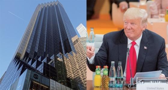 도널드 트럼프 대통령과 뉴욕의 트럼프타워. [중앙포토]