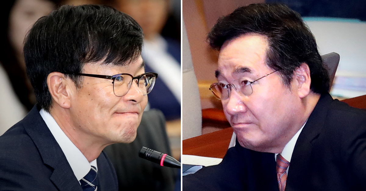 김상조 청와대 정책실장(왼쪽)과 이낙연 국무총리. [연합뉴스]