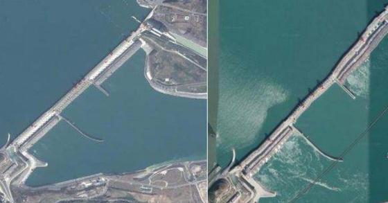 중국 싼샤댐의 초창기 구글어스 사진(왼쪽) 과 최근 네티즌들이 굴곡이 시작됐다고 밝힌 사진. [바이두 캡처]