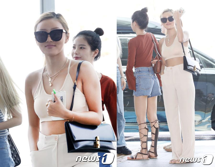 해당 사진은 화사가 5일 인천국제공항을 통해 홍콩으로 출국하는 모습. 화사는 입국때 노브라 패션을 선보였다. [뉴스1]