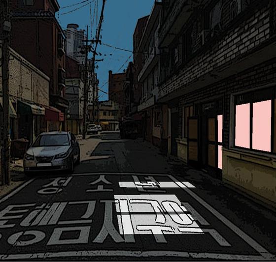 이제는 사라진 성매매 집결지 옐로하우스의 지난 1월 모습. 일러스트=김회룡기자aseokim@joongang.co.kr