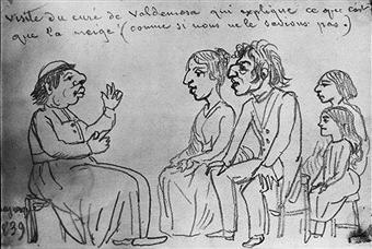 쇼팽 일행이 발데모사 지역 신부의 강론을 듣는 장면. 그는 눈[雪]이 무엇인지에 대해서 설명했다. 조르주 상드의 스케치, 1839, 발데모사 수도원의 쇼팽과 상드 기념관 소장.