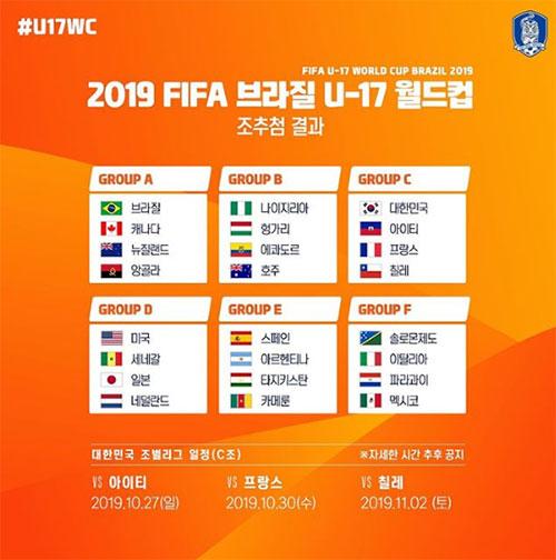 2019 브라질 FIFA U-17 월드컵 본선 대진표. [대한축구협회 홈페이지]