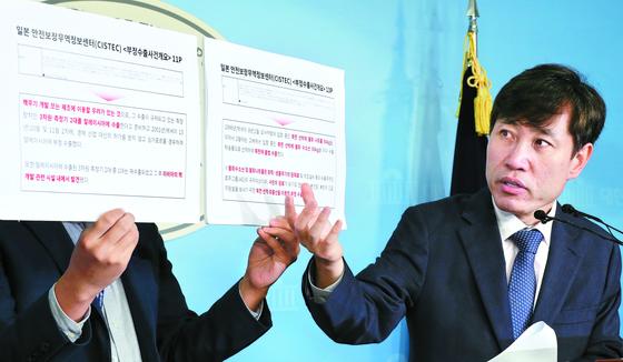 하태경 바른미래당 의원이 11일 국회 정론관에서 과거 일본이 대북 전략물자를 밀수출한 사실을 일본 안전보장무역정보 센터(CISTEC) 자료에서 확인했다며 기자회견을 하고 있다. [임현동 기자]