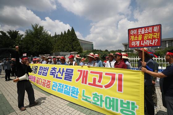 초복인 12일 서울 여의도 국회 앞에 모인 식용개 사육 농민들이 개고기 찬성 집회를 열고 있다. [연합뉴스]