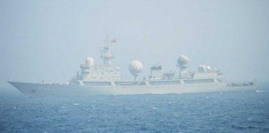 중국 인민해방군 해군의 815급 정보수집함. [사진 일본 해상자위대]