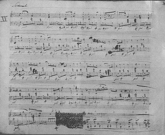 쇼팽의 빗방울 전주곡 자필 악보. [출처 Wikimedia Commons (Public Domain)]