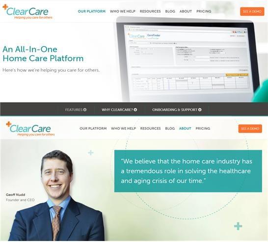 요양보호사의 돌봄 서비스를 관리하고 관련 정보를 제공하는 기업 클리어케어(clearCare). 시니어의 건강정보를 매일 체크하고, 이 정보를 모바일이나 인터넷을 통해 가족과 요양보호사 관리업체에 제공한다. 클리어케어 창업자 제프리(아래). [사진 클리어케어 홈페이지 캡처]