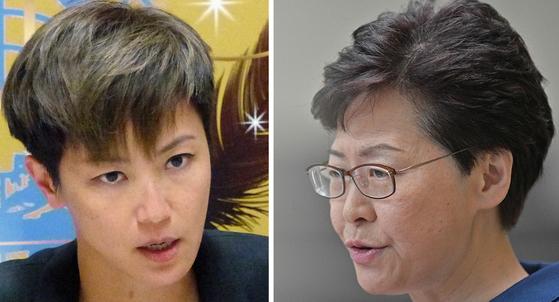 홍콩의 가수 겸 배우 데니스 호(왼쪽)와 캐리 람 행정장관. [AP, AFP=연합뉴스]