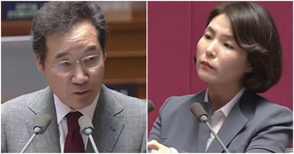 이낙연 국무총리(왼쪽)와 전희경 자유한국당 의원. [사진 JTBC 방송 캡처]